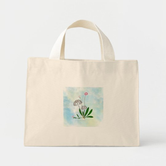 Purple and White Mushrooms with small Daisies Mini Tote Bag
