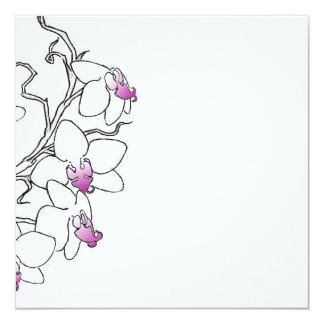 "Purple and White Orchid Blank Card 5.25"" Square Invitation Card"