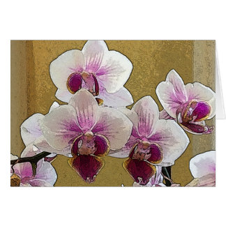Purple and White Orchid Dry Brush Card