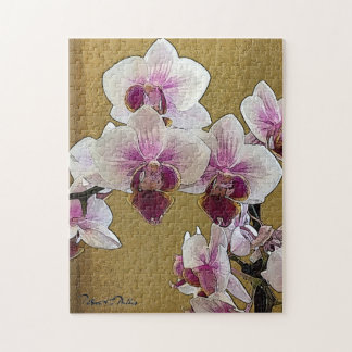 Purple and White Orchid Dry Brush Jigsaw Puzzle