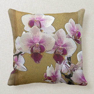 Purple and White Orchid Dry Brush Throw Pillow