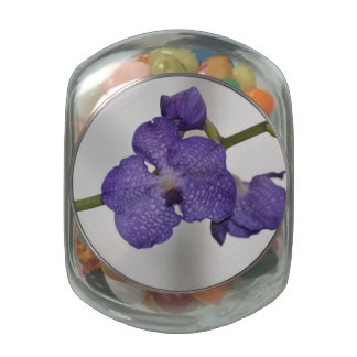 Purple and White Orchids Glass Candy Jar