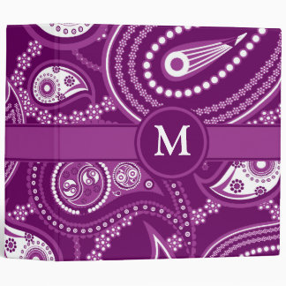 Purple and White Paisley Binders