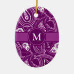 Purple and White Paisley Christmas Ornament