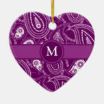 Purple and White Paisley Christmas Tree Ornaments