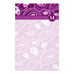 Purple and White Paisley Stationery