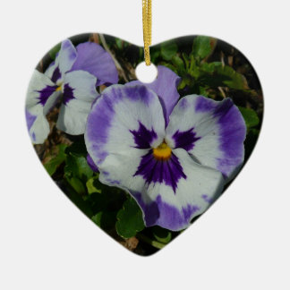 Purple and White Pansies Colorful Floral Ceramic Ornament