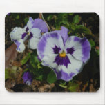 Purple and White Pansies Colorful Floral Mouse Pad