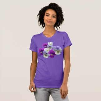 Purple and White Pansies Purple T-Shirt