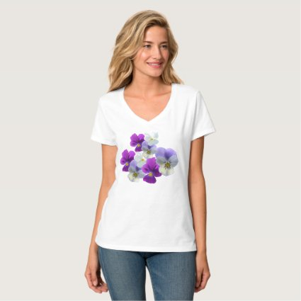 Purple and White Pansies V-neck T-Shirt