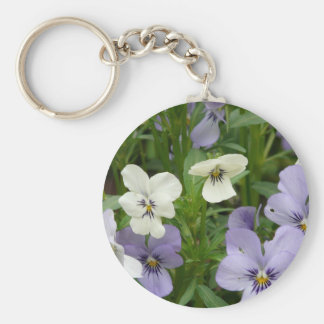 purple and white pansy basic round button keychain