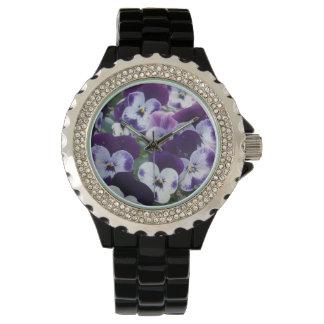 Purple_And_White_Pansy_Bouquet_Ladies_Wrist_Watch. Relojes De Pulsera