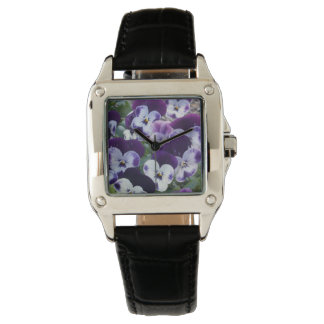 Purple_And_White_Pansy_Ladies_Square_Watch. Relojes