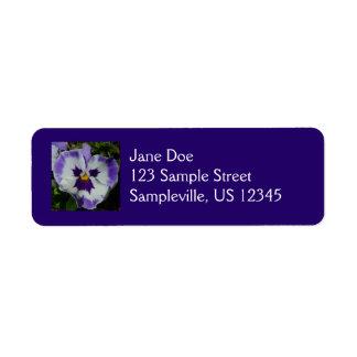 Purple and White Pansy Return Address Label
