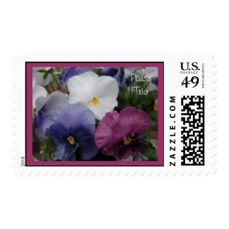 Purple and White Pansy Trio Postage