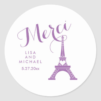 Purple and White Paris Eiffel Tower Wedding Merci Classic Round Sticker