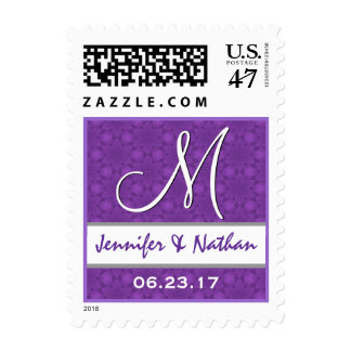 Purple and White Pattern Wedding Monogram Stamp