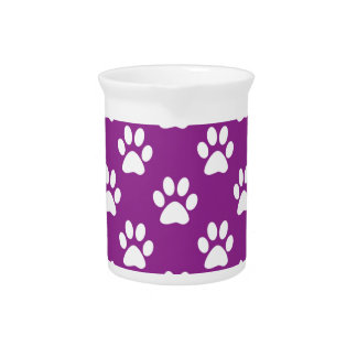 Purple and white paw prints pattern drink pitcher