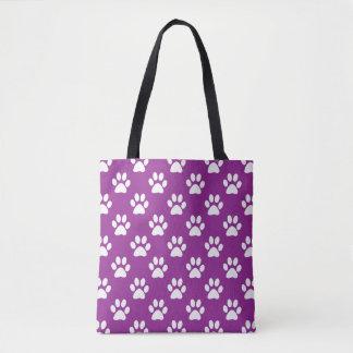 Purple and white paw prints pattern tote bag