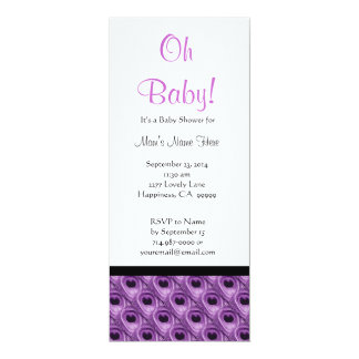Purple and White Peacock Feathers Baby Shower Card