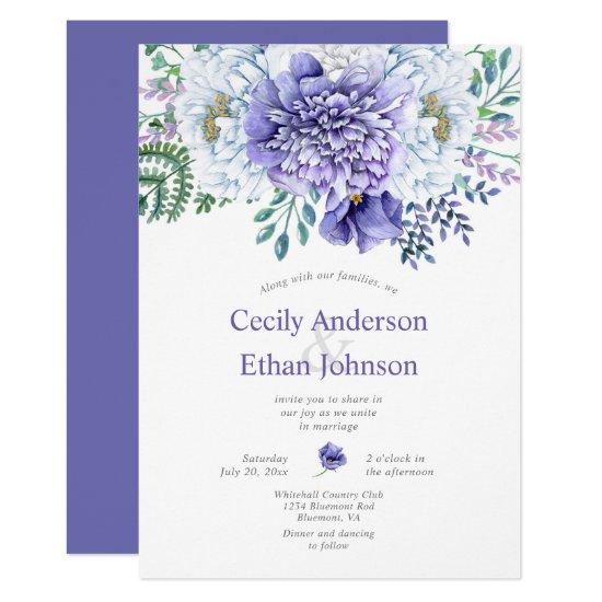 Purple and White Peonies Floral Wedding Invitation
