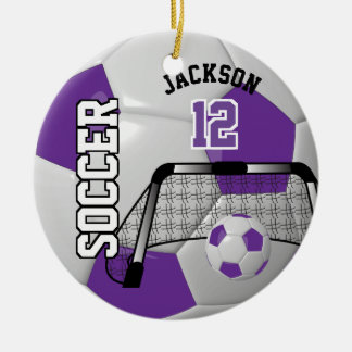 Purple and White Personalize Soccer Ball Ceramic Ornament