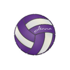 Purple and White Personalize Volleyball Candy Tins at Zazzle