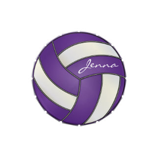 Purple and White Personalize Volleyball Candy Tins