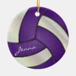 Purple and White Personalize Volleyball Christmas Tree Ornaments