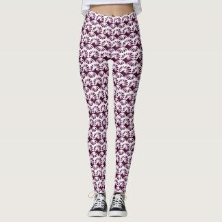 Purple and White Petas Pattern Leggings