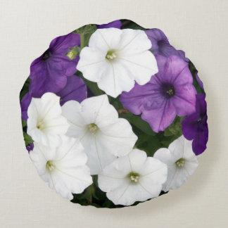 Purple and white petunias round pillow