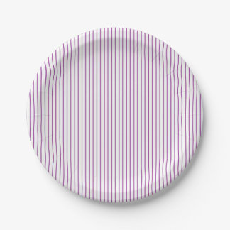 Purple and White Pinstripe Paper Plates