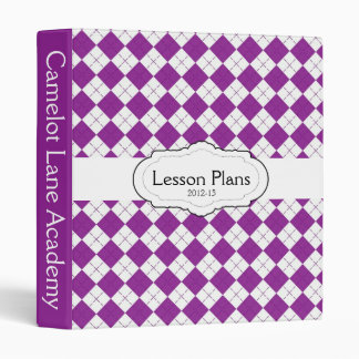 Purple and White Plaid Lesson Plan Binder
