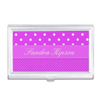 Purple and White Polka Dot Business Card Holder
