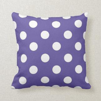 Purple and White Polka Dot Decorative Throw Pillow