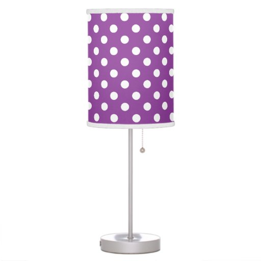 Purple and White Polka Dot Desk Lamp
