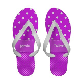 Purple and White Polka Dot Flip Flops