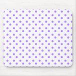 Purple and White Polka Dot Mousepad