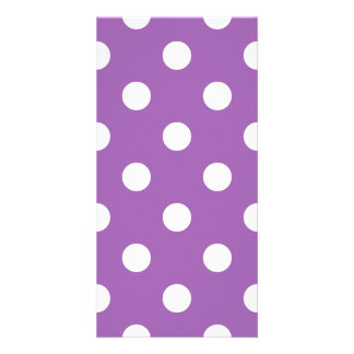 Purple And White Polka Dot Pattern Card
