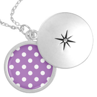 Purple And White Polka Dot Pattern Locket Necklace