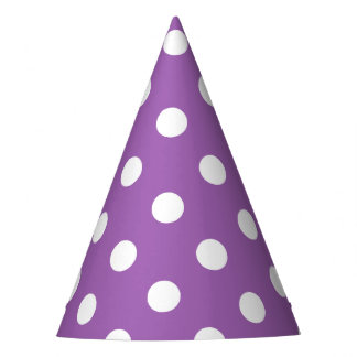 Purple And White Polka Dot Pattern Party Hat