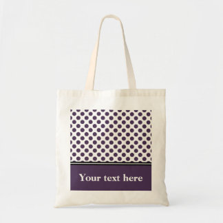 Purple and White Polka Dot, Personalized Tote Bag