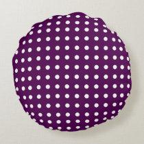 Purple and White Polka Dot Round Pillow