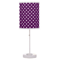 Purple and White Polka Dot Shaded Desk Lamp