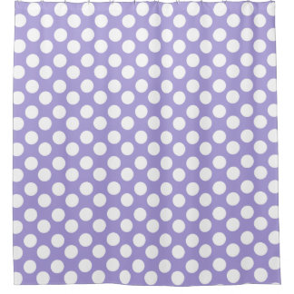 Purple and White Polka Dot Shower Curtain