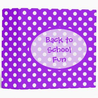 Purple and White Polka Dots Binder