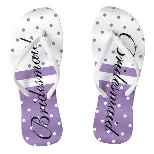 4e859b7830c03 Purple and White Polka Dots -Bridesmaid Flip Flops