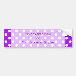 Purple and White Polka Dots Car Bumper Sticker