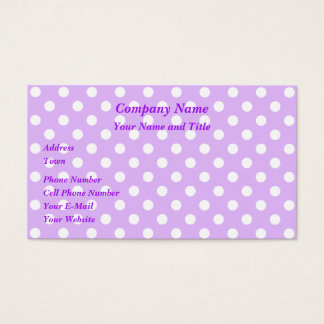Purple and White Polka Dots Business Card