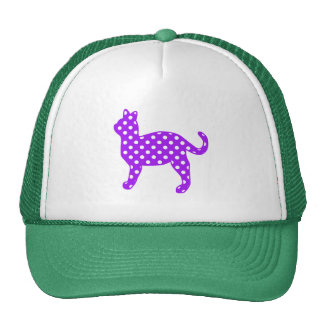 Purple and White Polka Dots Cat Standing Trucker Hat